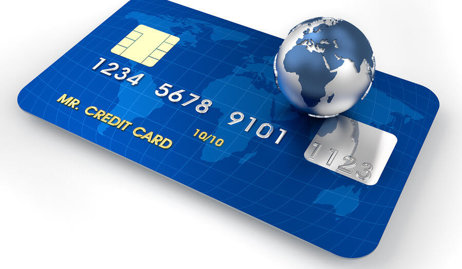 credit card with a 3d globe