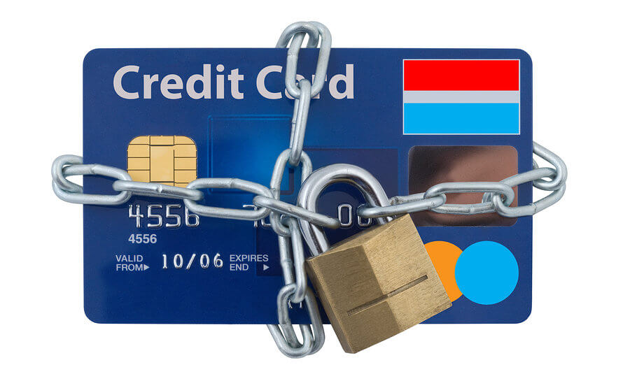 credit card secured with a chain