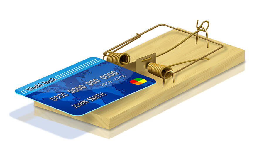 a credit card in a mouse trap