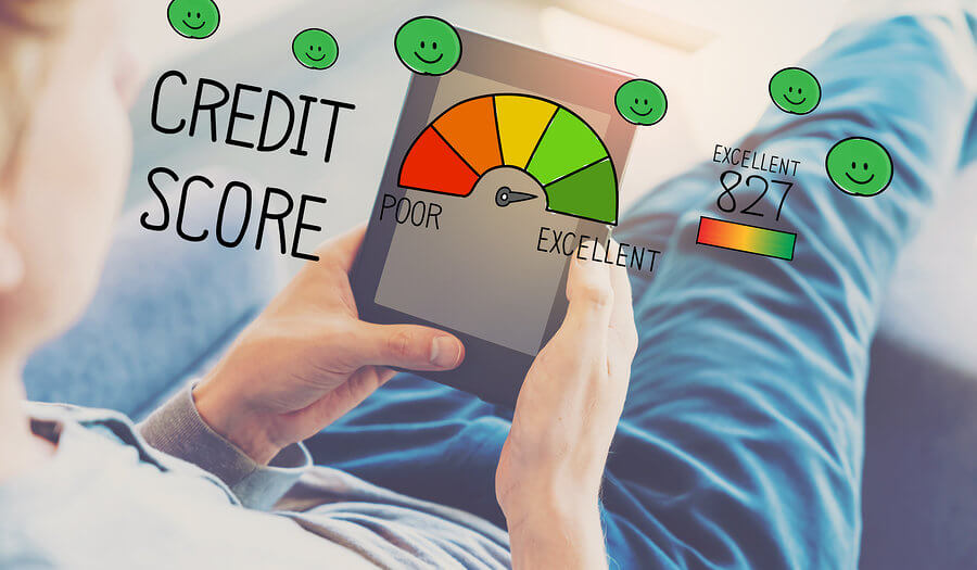 man holding a tablet with credit score