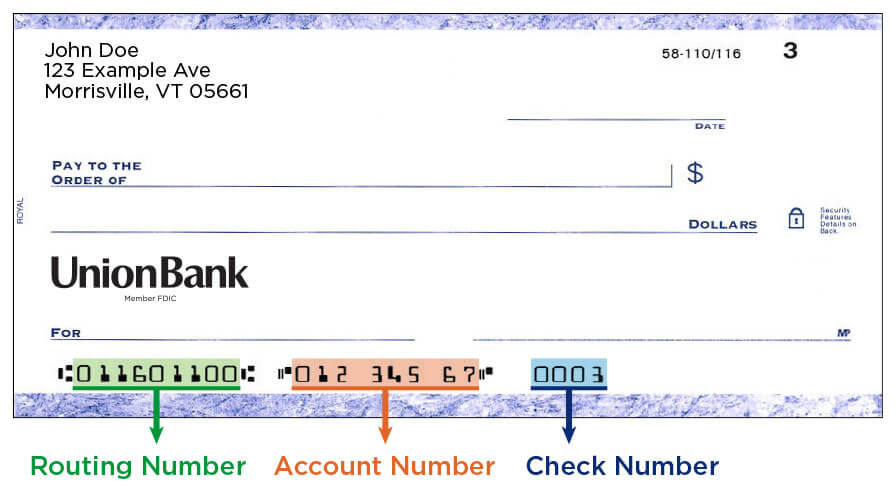 routing number on a check from union bank