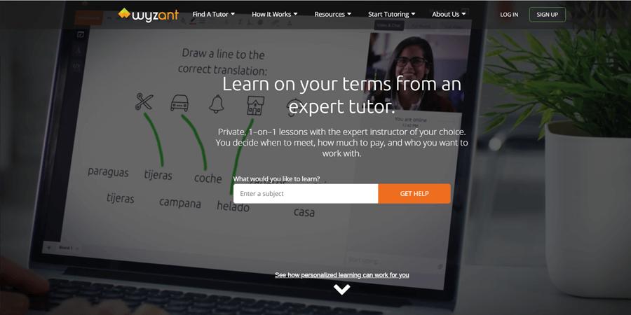 wyzant online tutoring website