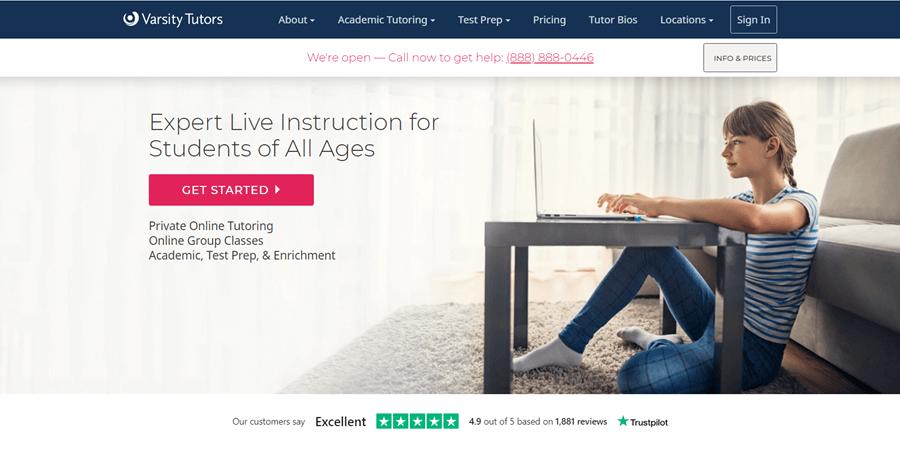 varsitytutors online tutoring website