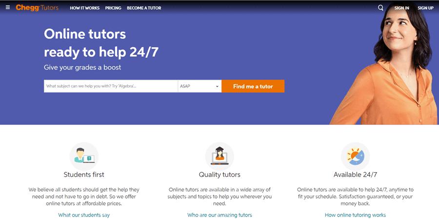 chegg online tutoring website