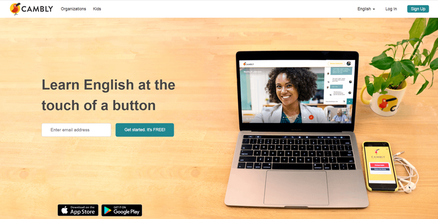 cambly online tutoring website