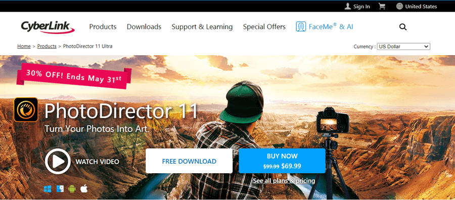 cyberlink photodirector editing software