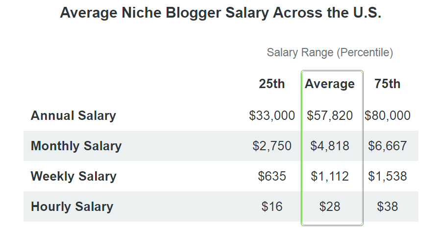 niche blogger salary